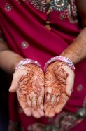 We happened by a wedding in the Dharavi slum. One of the guests showed us her henna tattoo.