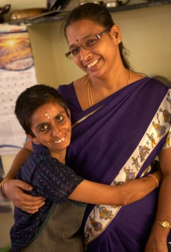 Families For Children has become a respected resource in its community of Podanur. Not a child when she arrived at FFC 15 years ago, Pushpa (left), with FFC co-ordinator Jaga, was found living in the streets. Although unable to speak, she is a gregarious personality who loves fashion. Her favorite day is when clothing donations arrive.