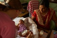 This one-day old baby was left on the street, passersby brought her to Families For Children where she was examined by Ottawa nurse Debbie Hogan and Kalai, Families For Children Chief Administrator. Since the baby was healthy, wearing new clothes and packed in a bassinet with a gold ring and a brick of 1,000 Rupee notes, FFCs officials felt she was born out of wedlock, but will be an excellent candidate for adoption.