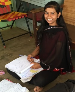 Lavanya later finds a quiet spot to study for grade 8 exams.