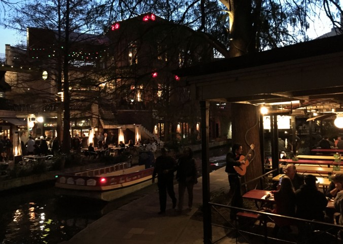 Restaurants and hotels, many in restored buildings from the mid 1800s, including the Omni La Mansion del Rio, line the walkway. There is music, beautiful lighting and candles.