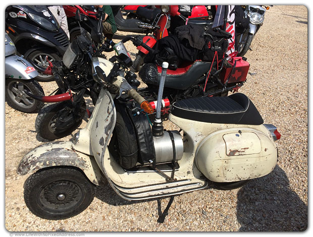 This scooter with an auxillary fuel tank, unbelievably, was ridden from Hyder, Alaska, The Friendliest Ghost Town in America, to New Orleans. The every-two-years Cannonball ride took 10 days.