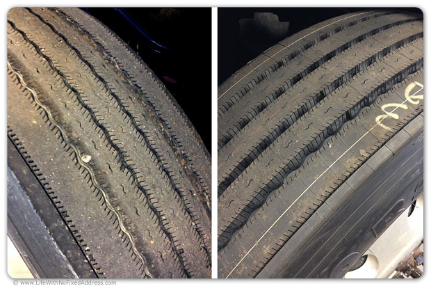 Worn tire to the left, new tire to the right. Both are low-rolling resisitance, Michelin XZA3+. The old tires were replaced at 267,946 miles. The tires are expensive and worth every penny.
