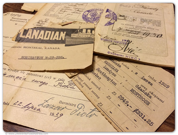 The original 1929 tickets that brought my mother, Anna Betnaza, from Poland to Southhampton, England to Canada. My grandmother traveled with three children. The cost in today's dollars is a little more than $4,000.