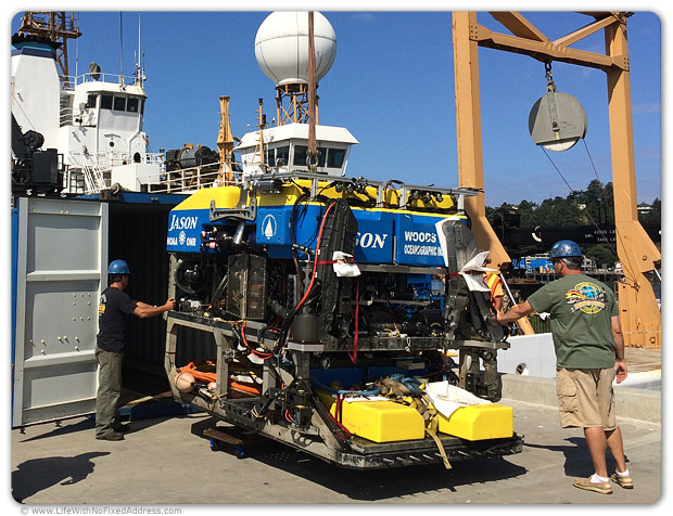 Jason is the famous deep sea explorer that belongs to WHOI, the Woods Hole Oceanographic Institution, based on Cape Cod, Mass. It took six team trucks to carry him and his pieces back to base for a check up.