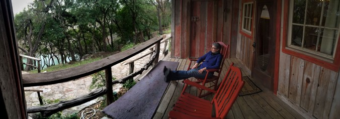 Guests staying in the rooms in the converted barn on the Gruene Mansion Inn property enjoy the view of the tree-lined Guadalupe River. The main house with a wide sweeping balcony, Henry Gruene's family home built in 1878, is on the street side of the property.