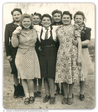 My mother is front left in the photo. A teenager in Alberta's Peace River country itiching to get out. She was pulled out of school at the end of Grade Eight. Her parents couldn't see the benefit of educating her. She never became a farm wife.