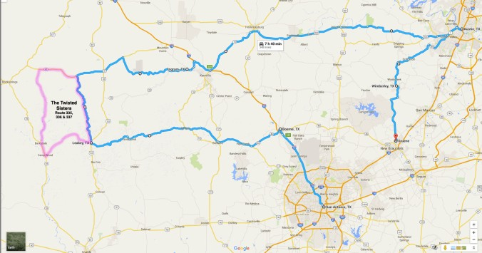 Click map to enlarge. Whether you're riding a motorcycle or traveling by car, the blue route which we somewhat followed, is a great sightseeing route through Texas Hill Country with plenty of restaurant and coffee stops. The pink route is the Twisted Sisters. It is windy, narrow and dangerous. So don't be crazy.