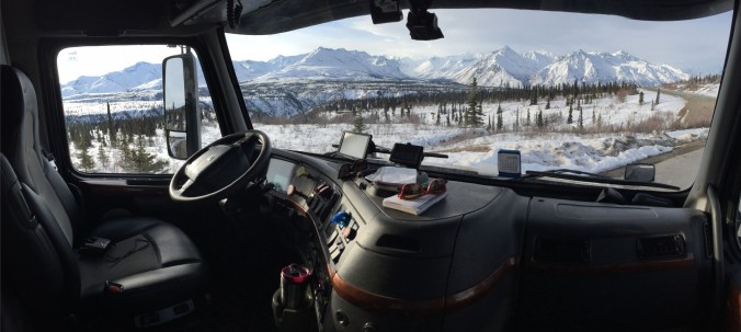 The best office window in the world is in my tractor. We spent the night in a pullout and woke up to this scene -- Matanuska Glacier.