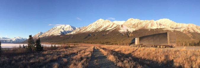 We flouted the law at Kluane park, pulling the brakes next to Kluane Lake in a no-overnight-parking pullout. With the roads empty, we couldn't resist the view.