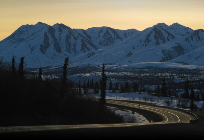 The roads were bare and dry and bare of traffic in April. This is Alaska Highway 1. Glenallen is at the split between Highway 1 and 4. There's an IGA for groceries and The Hub for fuel and souvenirs where I found great Alaska socks and Christmas ornaments.