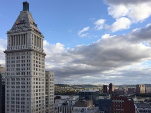 The 16th Floor of the Hilton Netherland Plaza in downtown Cincinnati overlooks the Ohio River.