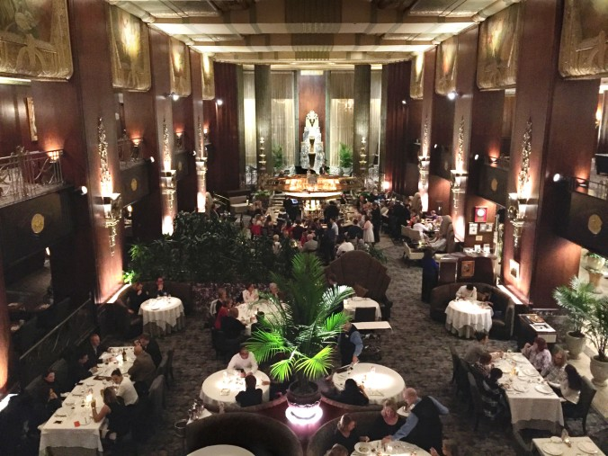 The gorgeous example of French Art Deco architecture creates a grand backdrop for dinner.